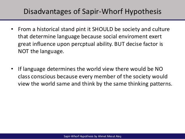 Sapir Whorf Hypothesis