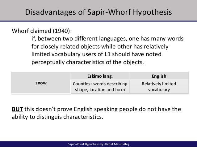 sapir whorf thesis The sapir-whorf hypothesis, long considered a factor in intercultural communication, is discussed empirical studies that  as a scientifically testable thesis.
