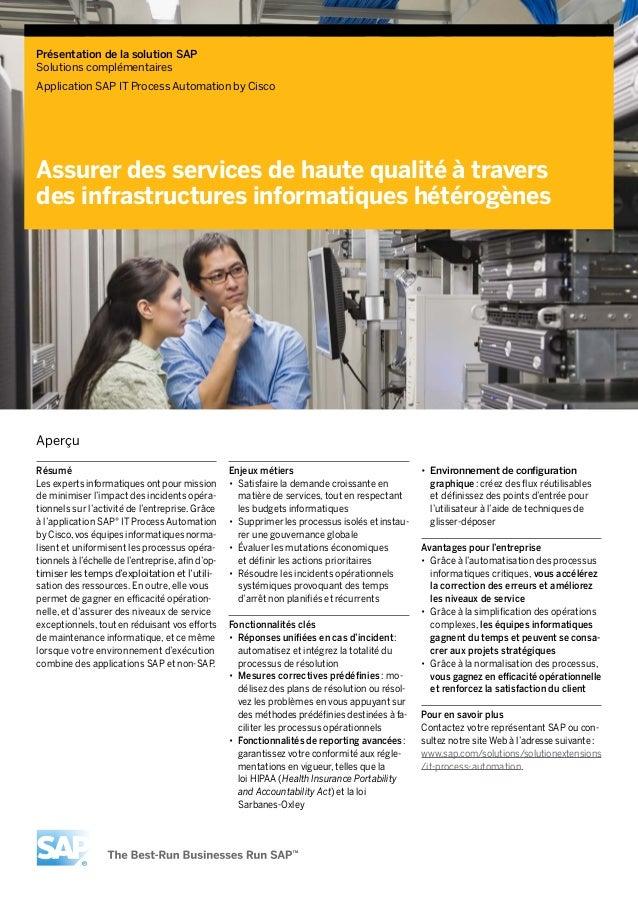 Présentation de la solutionSAPSolutions complémentairesApplication SAP IT Process Automation by CiscoAssurer des services...