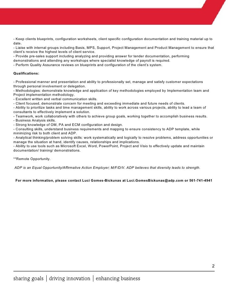 Sap Lead Consultant Job Description