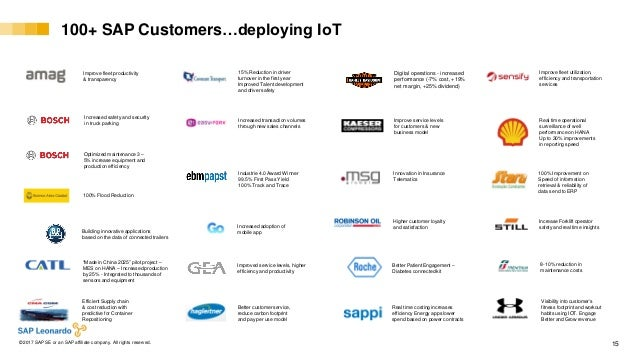 Internal© 2017 SAP SE or an SAP affiliate company. All rights reserved. ǀ 15 100+ SAP Customers…deploying IoT Real time co...