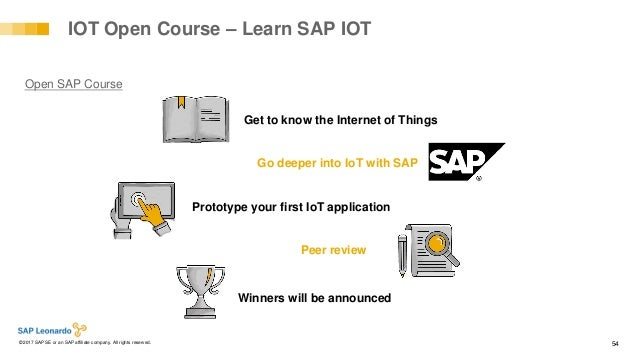Internal© 2017 SAP SE or an SAP affiliate company. All rights reserved. ǀ 54 Go deeper into IoT with SAP IOT Open Course –...