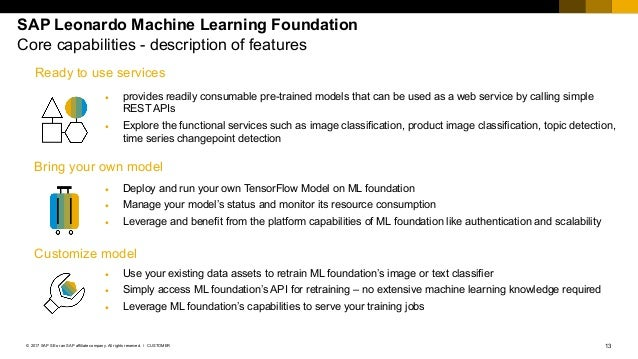 13CUSTOMER© 2017 SAP SE or an SAP affiliate company. All rights reserved. ǀ SAP Leonardo Machine Learning Foundation Core ...