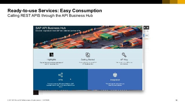 18CUSTOMER© 2017 SAP SE or an SAP affiliate company. All rights reserved. ǀ Ready-to-use Services: Easy Consumption Callin...