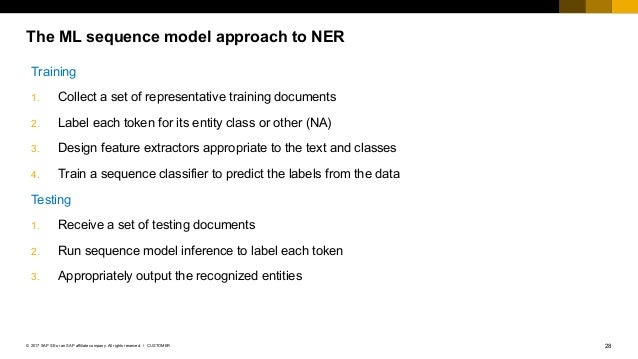 28CUSTOMER© 2017 SAP SE or an SAP affiliate company. All rights reserved. ǀ The ML sequence model approach to NER Training...