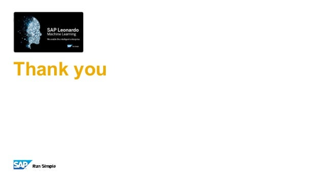 SAP Leonardo Machine Learning Thank you