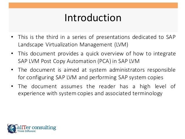 SAP LVM Post Copy Automation Integration Slide 2