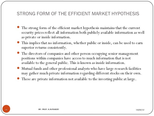 the contradiction within the efficient market theory