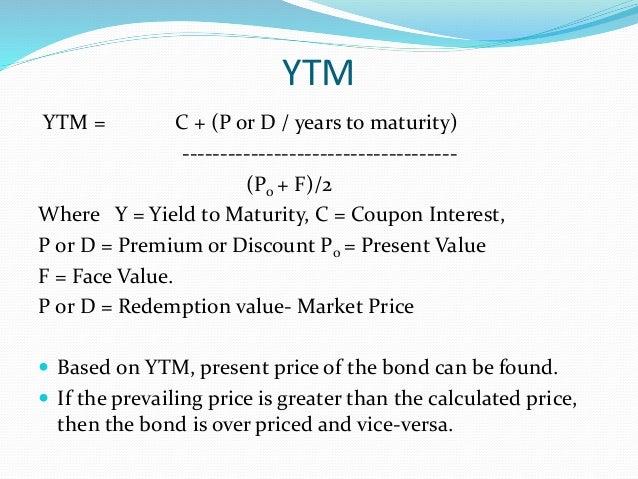 Coupon bond yield to maturity