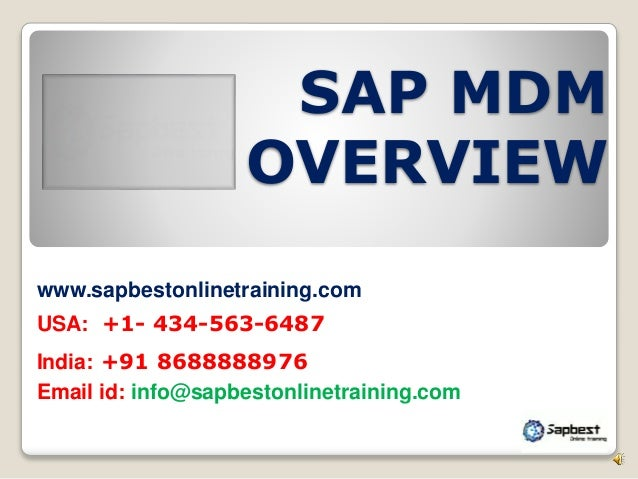 sap mdm online training / sap mdm project support