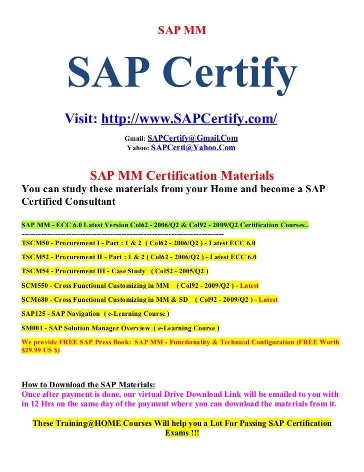 Sap Mm Certification Material Download