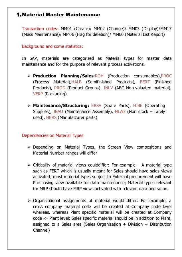 SAP MM Essential Master Data