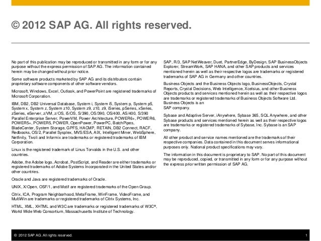 © 2012 SAP AG. All rights reserved.No part of this publication may be reproduced or transmitted in any form or for any   S...