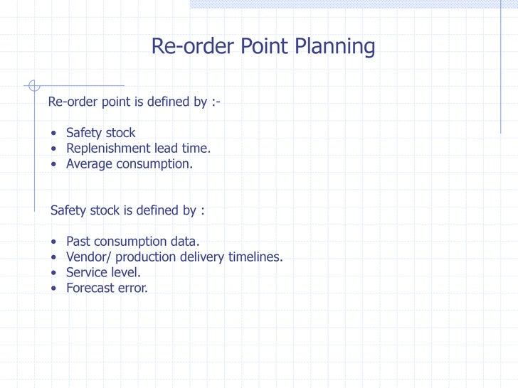 Re-order Point PlanningRe-order point is defined by :-• Safety stock• Replenishment lead time.• Average consumption.Safety...