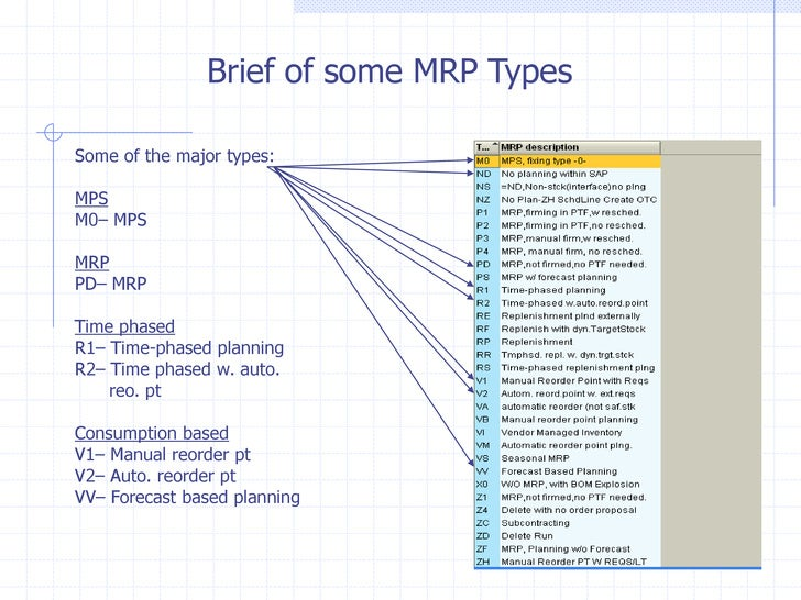 Brief of some MRP TypesSome of the major types:MPSM0– MPSMRPPD– MRPTime phasedR1– Time-phased planningR2– Time phased w. a...