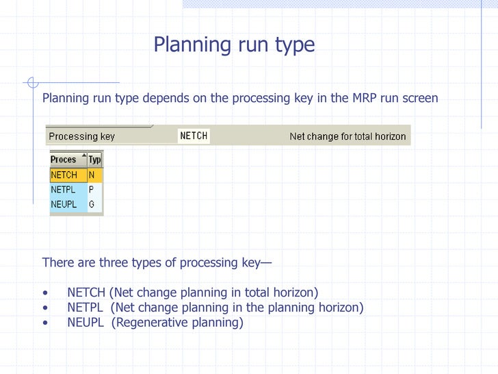 Planning run typePlanning run type depends on the processing key in the MRP run screenThere are three types of processing ...