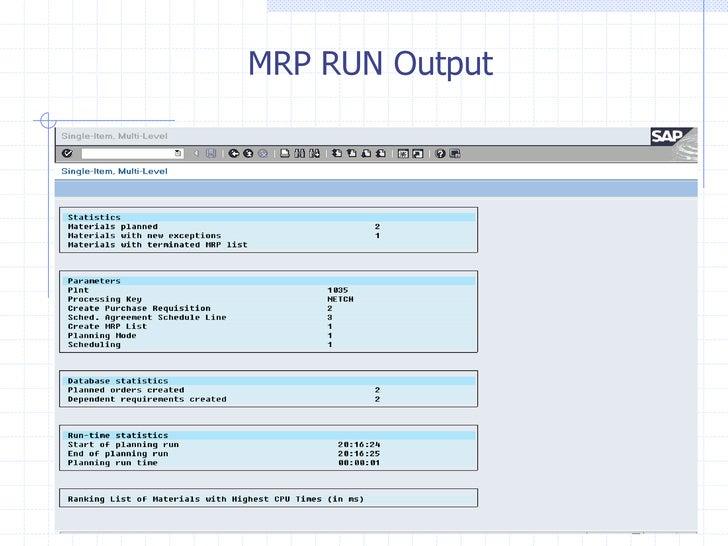 MRP RUN Output