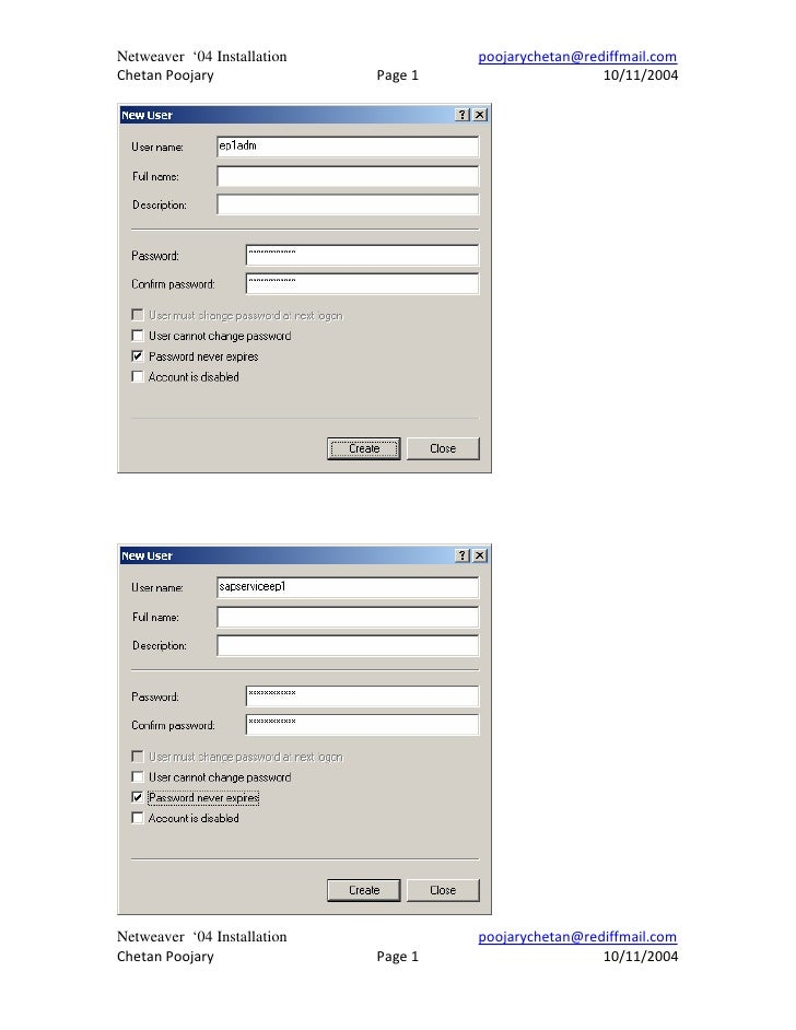 Netweaver '04 Installation            poojarychetan@rediffmail.comChetan Poojary               Page 1                    1...