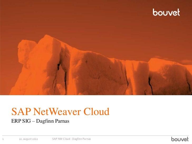 SAP NetWeaver Cloud    ERP SIG – Dagfinn Parnas1      22. august 2012   SAP NW Cloud - Dagfinn Parnas