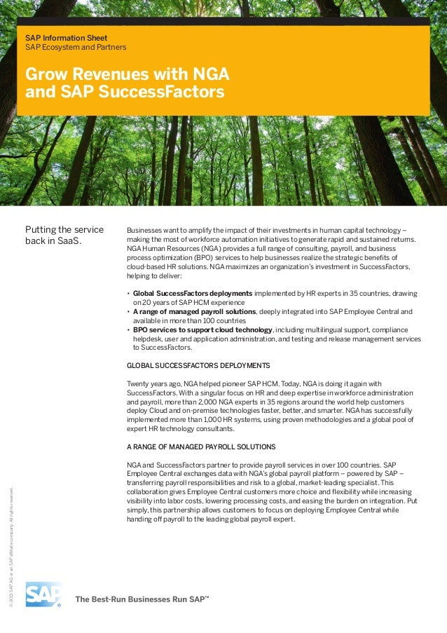 SAP Information Sheet SAP Ecosystem and Partners  Grow Revenues with NGA and SAP SuccessFactors  Putting the service back ...