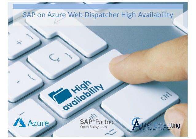 SAP on Azure Web Dispatcher High Availability