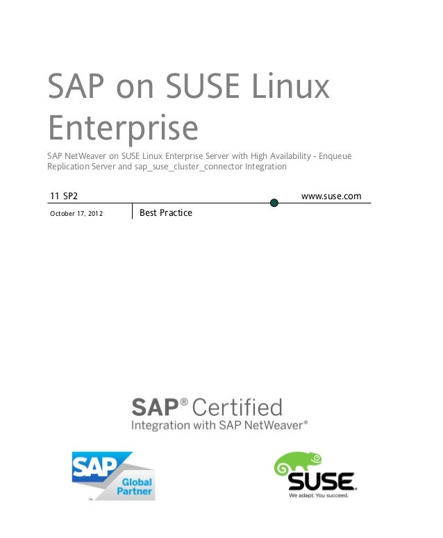 SAP on SUSE LinuxEnterpriseSAP NetWeaver on SUSE Linux Enterprise Server with High Availability - EnqueueReplication Serve...