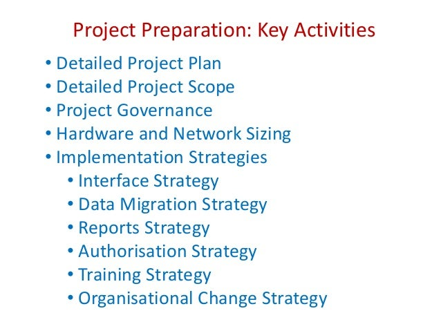 Project preparation key activities detailed project plan detailed