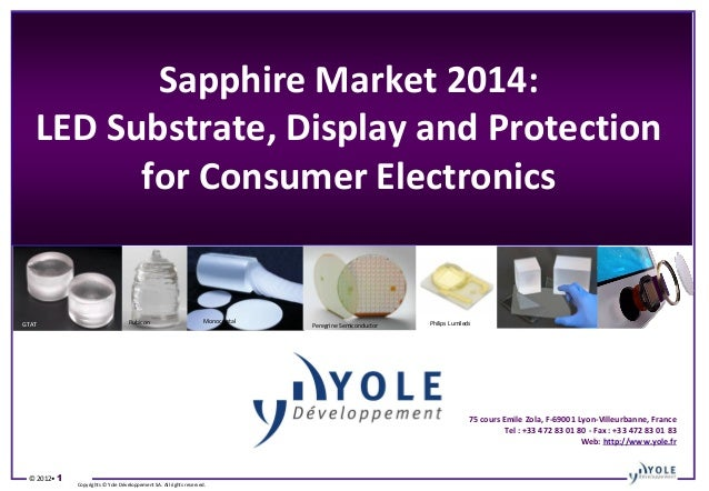 Sapphire Market 2014: LED Substrate, Display and Protection for Consumer Electronics →  → Monocrystal  Rubicon  GTAT  →  C...