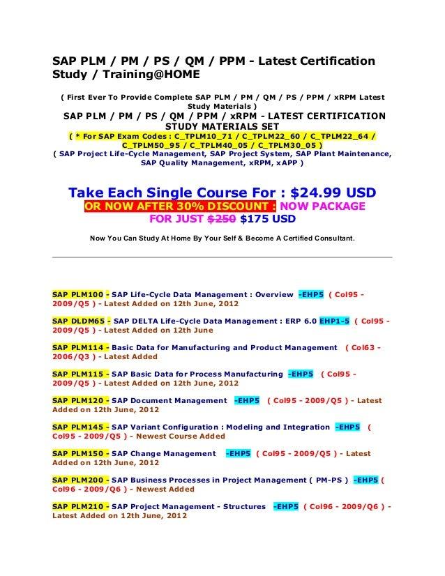 Sap Plm Pm Ps Qm Ppm X Rpm Latest Certification Study Materials