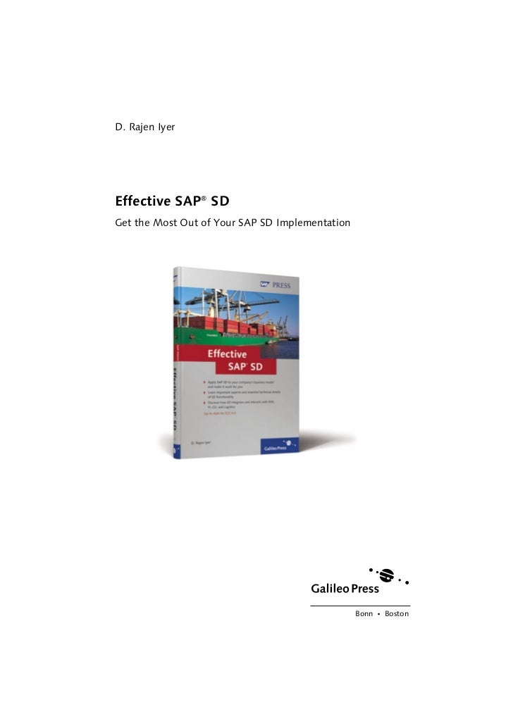 D. Rajen IyerEffective SAP® SDGet the Most Out of Your SAP SD Implementation                                              ...