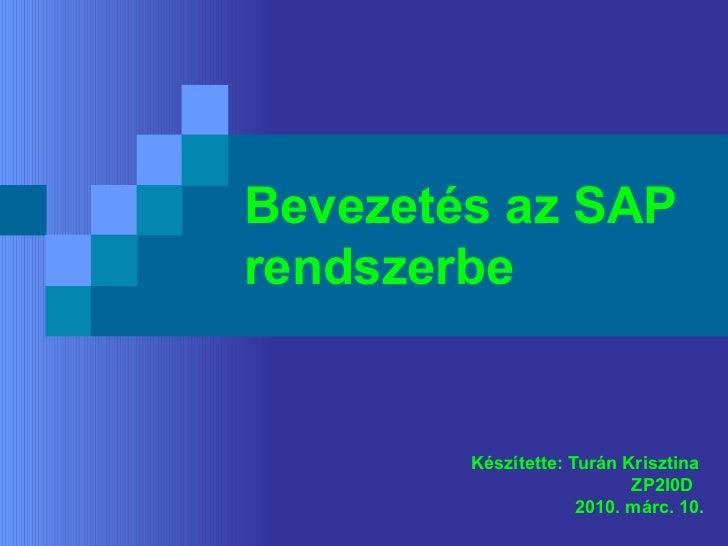 Bevezetés az SAP rendszerbe Készítette: Turán Krisztina  ZP2I0D 2010. márc. 10.