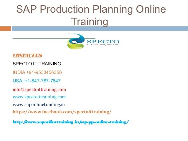 Sap production planning online training courses for Planning on line