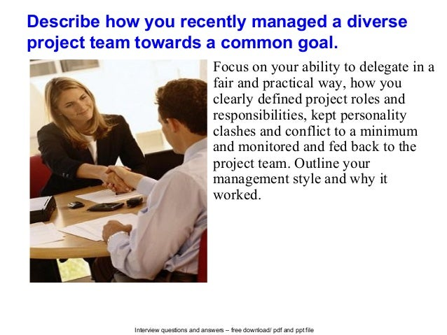 interview questions for project managers