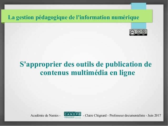 La gestion pédagogique de l'information numérique S'approprier des outils de publication de contenus multimédia en ligne A...