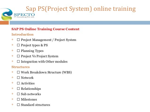 Sap ps(project system) online training in usa
