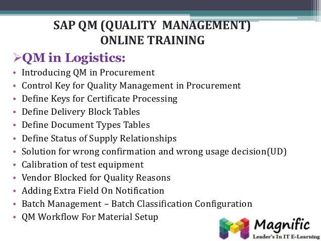Sap Qm Quality Management Online Training