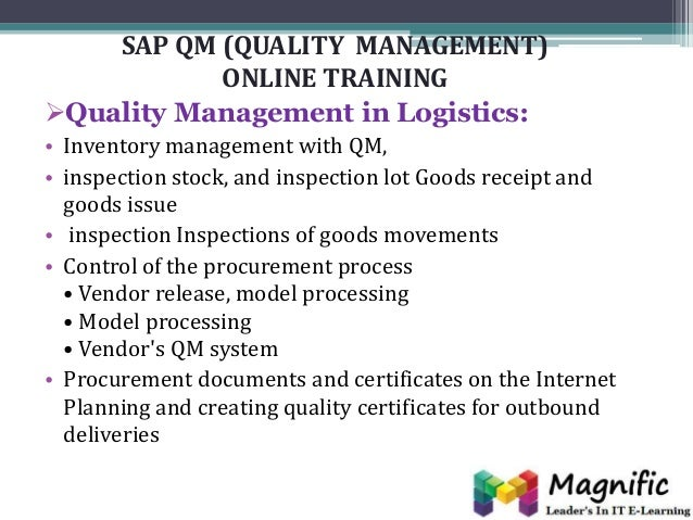 sap qm As part of the comprehensive sap erp solution from sap ag, the qm  application component supports all quality management processes across the  supply.