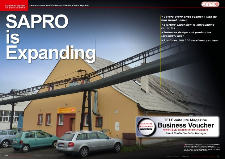 COMPANY REPORT                           Manufacturer and Wholesaler SAPRO, Czech Republic该独家报道由高级编辑所作SAPRO               ...