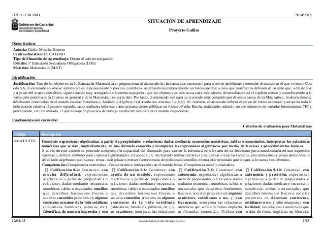 IES EL CALERO 2014/2015 SITUACIÓN DE APRENDIZAJE Proyecto Galileo Datos técnicos Autoría: Carlos Morales Socorro Centro ed...
