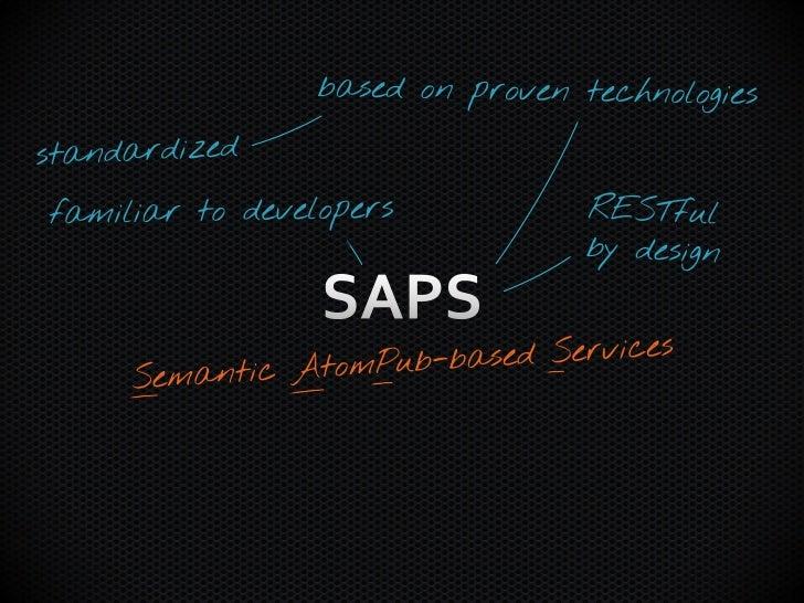 SAPS' Semantic Layer SAWSDL          JSON Schema+          …XML Schema           JSON              …  Atom             Ato...