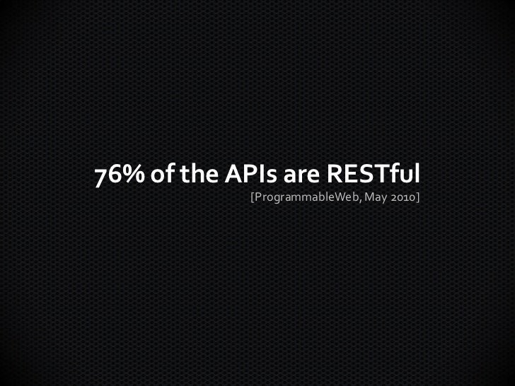76% of the APIs are RESTful            [ProgrammableWeb, May 2010]
