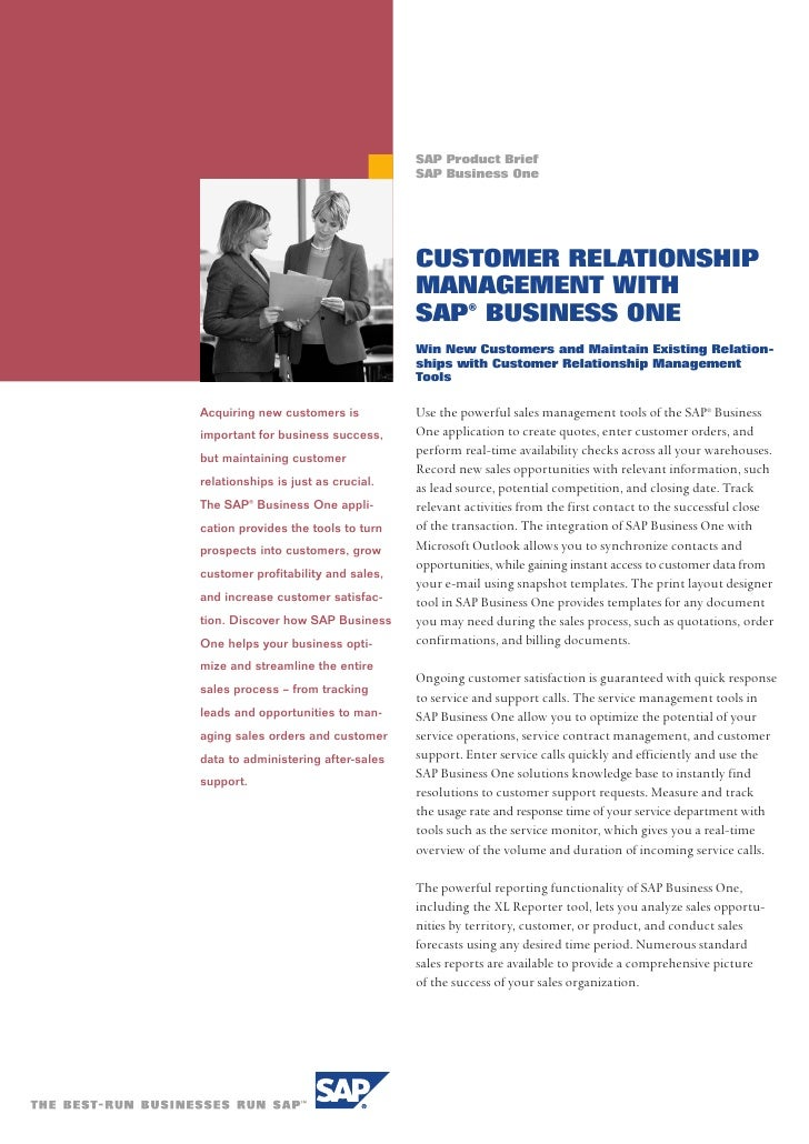 SAP Product Brief                                     SAP Business One                                         CUSTOMER RE...