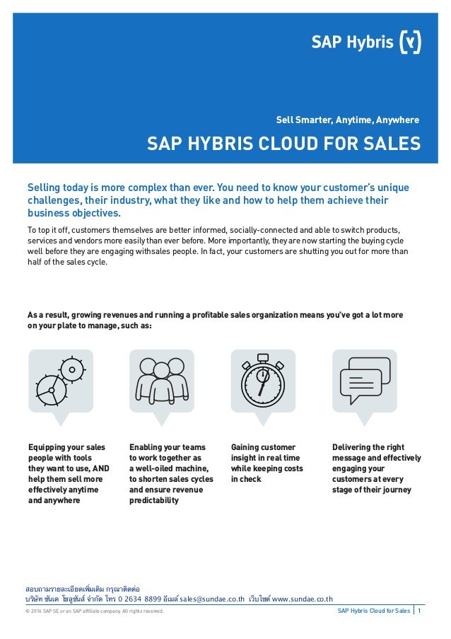 1SAP Hybris Cloud for Sales© 2016 SAP SE or an SAP affiliate company. All rights reserved. Sell Smarter, Anytime, Anywhere ...