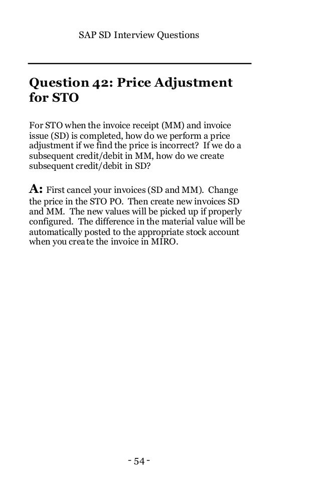 SAP SD Interview Questions with Explanation