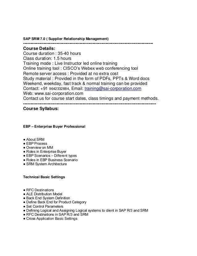 SAP SRM 7.0 ( Supplier Relationship Management)  -------------------------------------------------------------------------...