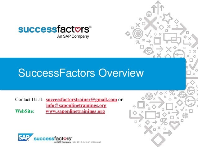 SuccessFactors Overview © Copyright 2011. All rights reserved. Contact Us at: successfactorstrainer@gmail.com or info@sapo...