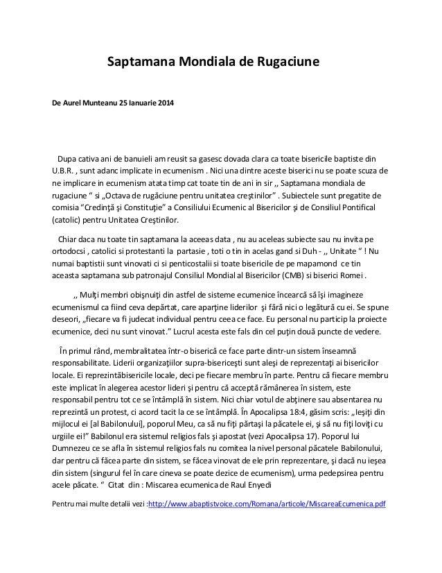 Saptamana Mondiala de Rugaciune De Aurel Munteanu 25 Ianuarie 2014  Dupa cativa ani de banuieli am reusit sa gasesc dovada...
