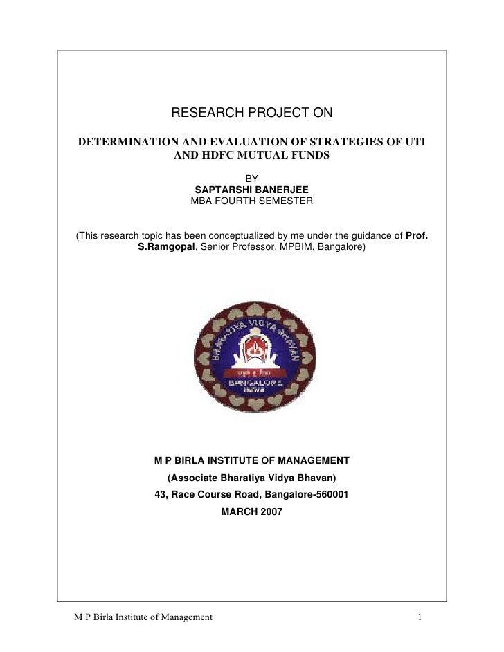 Saptarshi banerjee strategies of uti and hdfc mutual funds