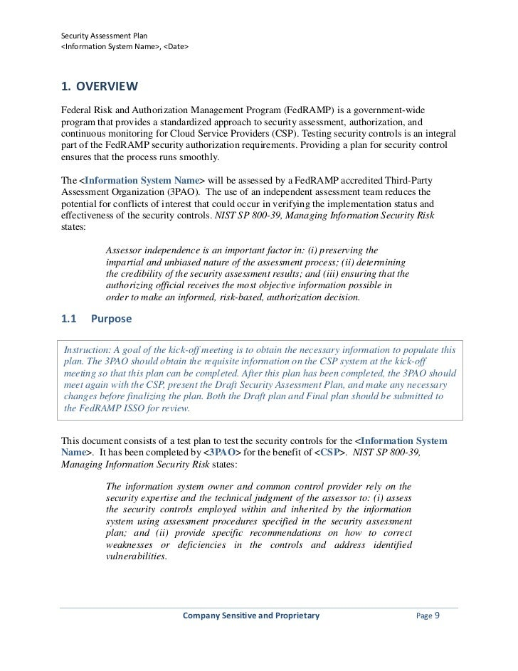 Company Sensitive And Proprietary Page 8; 9. Security Assessment Planu003cInformation  ...