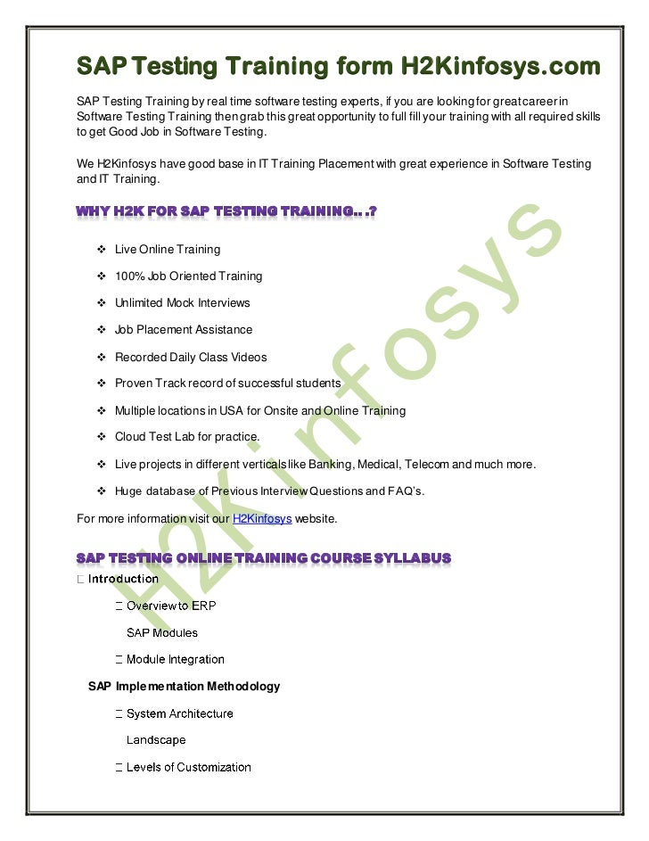 SAP Testing Training form H2Kinfosys.comSAP Testing Training by real time software testing experts, if you are looking for...